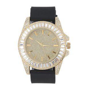 Baguette Cut Diamond Crystal Watch - Black/Gold